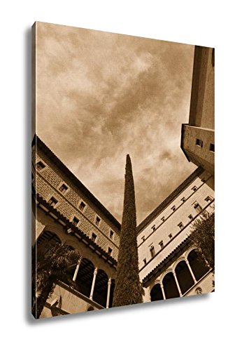 Ashley Canvas Architecturemaking Montserrat Monasterio De Montserrat Spain, Wall Art Home Decor, Ready to Hang, Sepia, 20x16, AG6303472 by Ashley Canvas