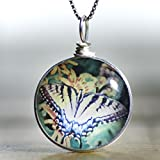 Handmade Glass Butterfly Necklace on Sterling Silver: Original Image Fused to Artisan Made Pendant on Italian Sterling Silver Box Chain