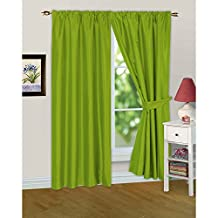 Faux Silk Ready Made Fully Lined Curtains And Tiebacks (45in x 72in) (Moss)
