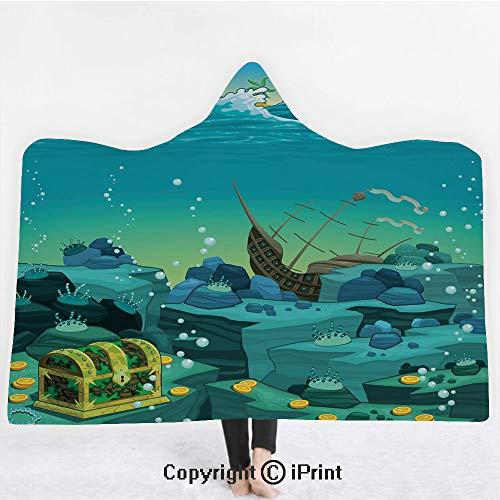 Cartoon Decor 3D Print Soft Hooded Blanket Boys Girls Premium Throw Blanket,Seascape Underwater with Treasure Galleon and Sunk Ship Pirate Kids Print,Lightweight Microfiber(Kids 50
