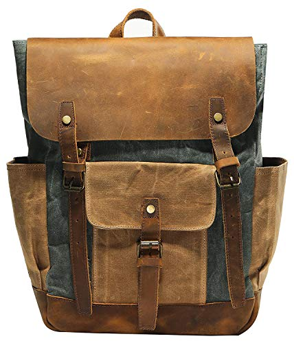 e354d9e52bc0 Vintage Waterproof Waxed Canvas Leather laptop computer Backpack College  School Bookbag Travel Rucksack 15.6