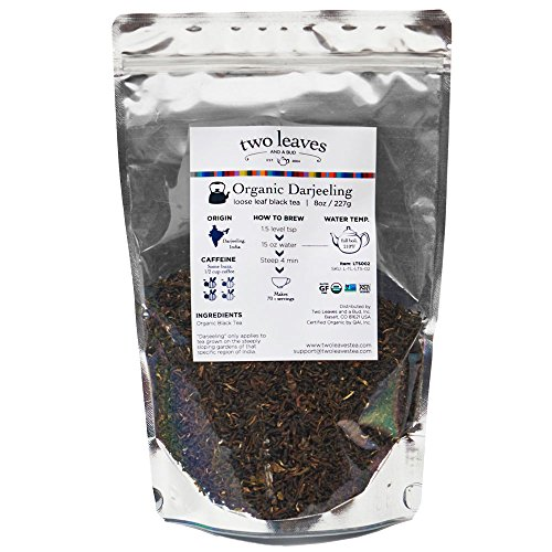 Two Leaves and a Bud Organic Darjeeling Black Tea, Loose, 8 oz Resealable Pouch (Pack of 2)