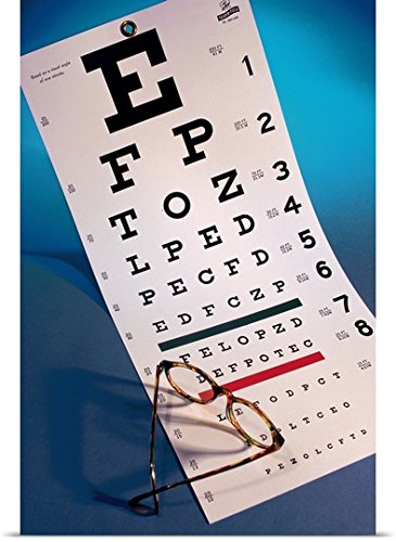 Poster Print entitled Eye chart with eyeglasses (Eye Chart Shot Glass compare prices)