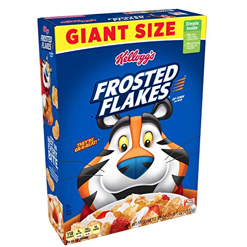 Kellogg's Breakfast Cereal, Frosted Flakes, Fat-Free, Giant Size, 33 oz Box