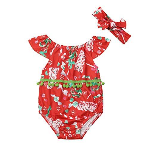 Body para bebé con Estampado navideño de Caramelos Rojos, Ropa Superior, Rojo, 12-18 Meses