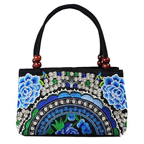 Perline Zipper Di Yunnan Double Due Bag Borsa Zm Double A Ricamata Portatile 8 Legno Vie National Embroidery layer Ricamo nfPxvnw1qc