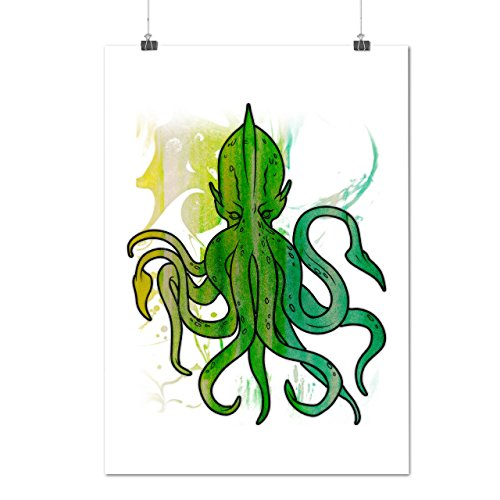Green Octopus King Sea Monster Matte/Glossy Poster A2 (17x24 inches)   Wellcoda