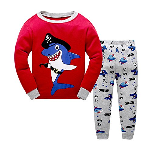 (Kid Toddler Clothes Pirate Shark Costume Pajamas Red)