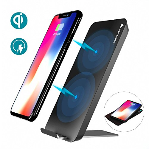Wireless Charger,Wofalodata Qi Fast Wireless Charging Pad Stand for Samsung S8 / S8 Plus / S7 / S7 Edge, S6 / S6 Edge/ S6 Edge Plus, Note 5, Standard Charge for iPhone X / 8 / 8 Plus.