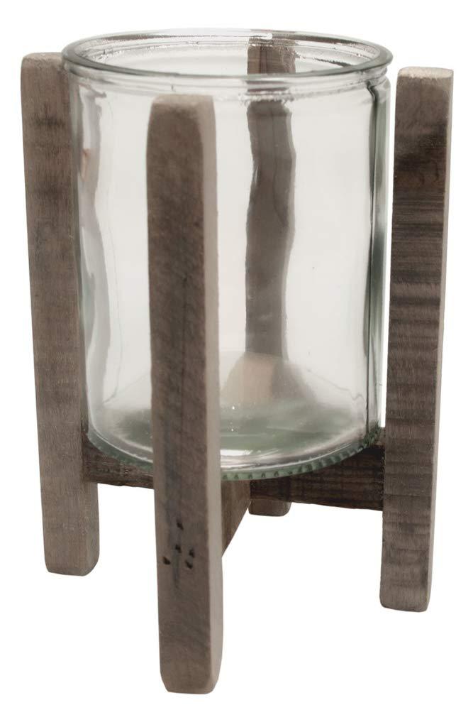 Windlicht mit Holzständer Kerzenhalter mit Glas Natur Ø 14,5cm x 17,5cm Hochzeitsdeko Stumpenkerze Teelicht Altarkerze Kirchendeko