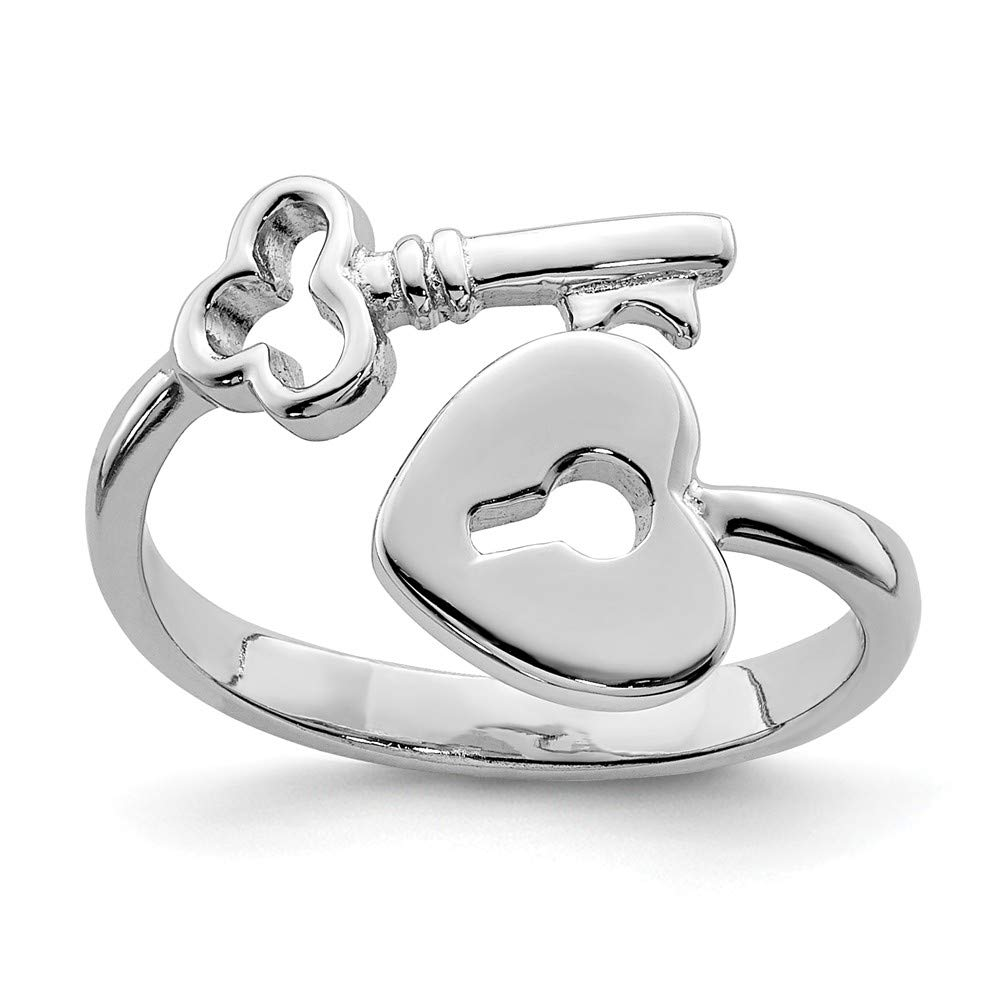 Black Bow Jewelry Rhodium Plated Sterling Silver Heart Lock and Key Bypass Toe Ring The Black Bow T8169