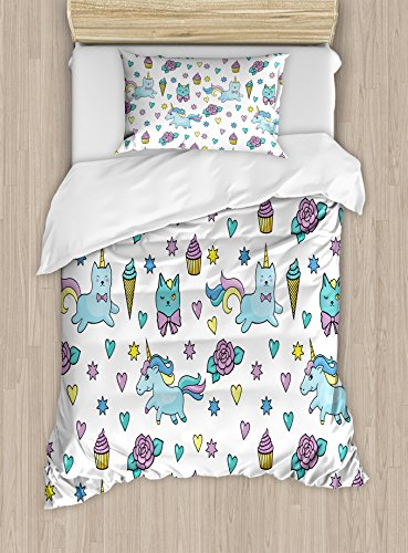 Ambesonne Unicorn Cat Duvet Cover Set Twin Size, Girls Pattern with Hearts Stars Flowers Ice Cream Cute Funny, Decorative 2 Piece Bedding Set with 1 Pillow Sham, Blue