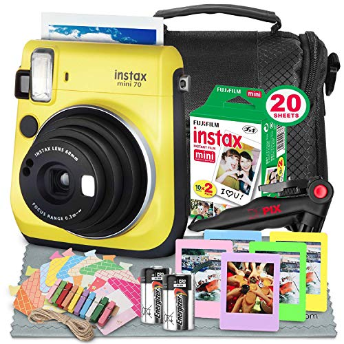 Fujifilm Instax Mini 70 Instant Film Camera (Yellow) W/Deluxe Accessory Bundle Instax Twin Pack Instant Film, Frames + Xpix Table Top Tripod, CR-2 Battery + Fibertique Cleaning Cloth