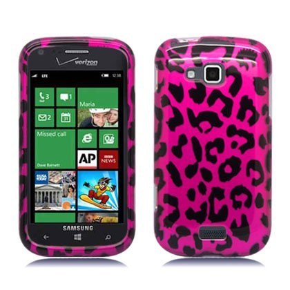 Aimo Wireless SAMI930PCIMT186 Hard Snap-On Image Case for Samsung ATIV Odyssey i930 - Retail Packaging - Hot Pink Leopard