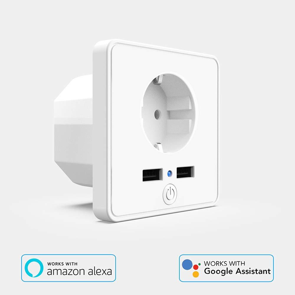 dos puertos USB de carga r/ápida Control inteligente de voz//APP Toma adecuado para Alexa y Google Assistant. Lemonmax Enchufe wifi inteligente temporizaci/ón Monitoreo de energ/ía