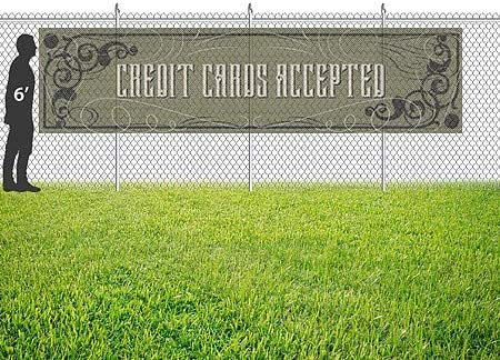 12x3 CGSignLab Credit Cards Accepted Victorian Gothic Wind-Resistant Outdoor Mesh Vinyl Banner