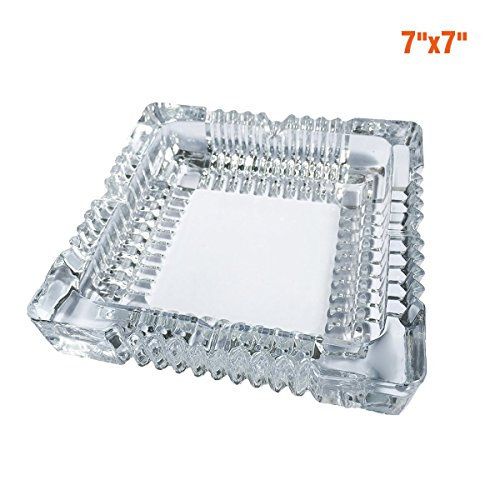 BSWEEII Large Square Glass Ashtray for Men,Big Cigar Smoke Ashtray for Home and Restaurant (Big Smoke Cigar)