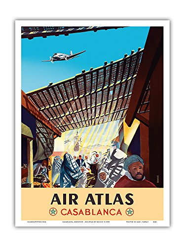Casablanca  Morocco   Air Atlas   Vintage Airline Travel Poster By Renluc C 1950   Master Art Print   9In X 12In