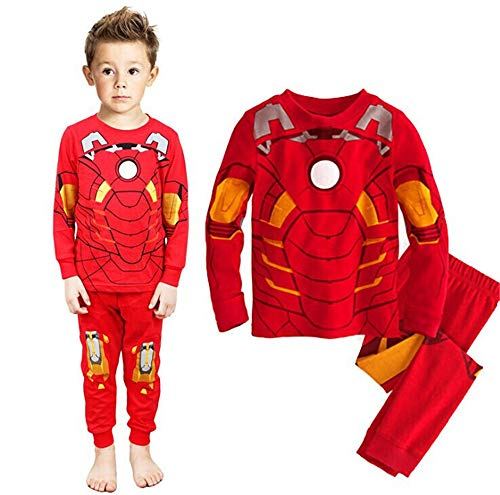 Boys Pajamas Sets Iron Man Children Christmas Pants 100% Cotton Spider-Man Long Kids Snug Fit Pjs Winter Toddler Sleepwear (007, 2T)