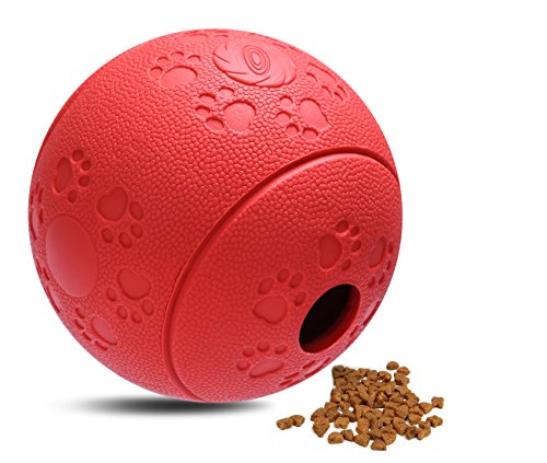 Treat Dispensing Ball for Dogs, ATESSON Interactive IQ Treat Training Toy Flexible Rubber Dispenser, Slow Feeding Solution, 3 Inch, Red (Treat Pickle compare prices)