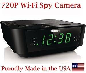 SpyGear-720p HD WIFI Alarm Clock Radio Spy Camera Wireless IP P2P Covert Hidden Nanny Camera Spy Gadget - AES Spy Cameras