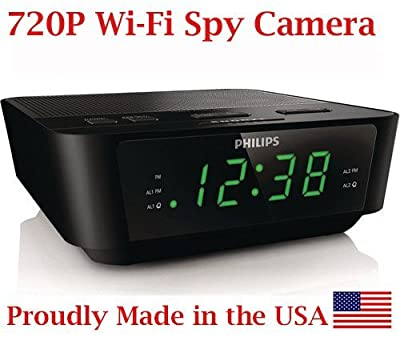 SpyGear-720p HD WIFI Alarm Clock Radio Spy Camera Wireless IP P2P Covert Hidden Nanny Camera Spy Gadget - AES Spy Cameras
