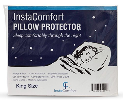 InstaComfort Allergy Pillow Covers Super Soft 100% Cotton Cases Hypoallergenic Pillowcase - Completely Silent Dust Mite Proof Protector - King Size Zippered Cover