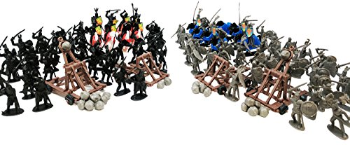 Toy Essentials 148 Pcs Black Gray Medieval Knights Battle Figures with (Medieval Toy Figures)