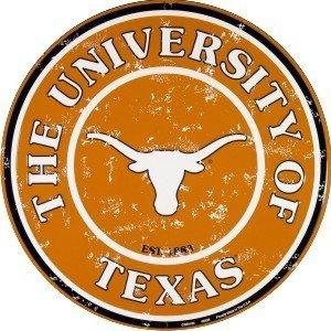 - Texas Longhorns 12 Inch Embossed Metal Nostalgia Circular Sign