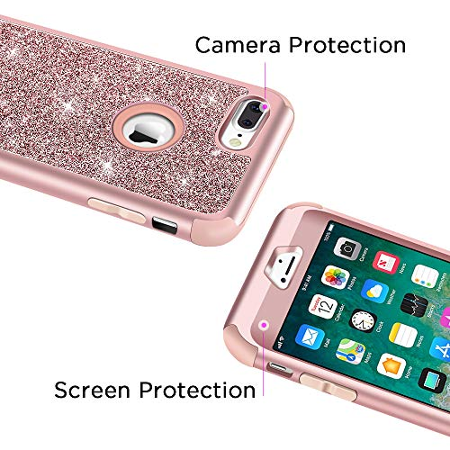 Hython Designed for iPhone 8 Plus, iPhone 7 Plus Case, Heavy Duty Defender Protective Bling Glitter Sparkle Hard Shell…