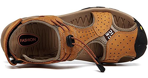 PPXID Mens Outdoor Leather Hiking Sandals Close Toe Beach Athletics Sandal Brown 9eCbWzyU