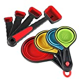 Measuring Cups and Spoons Set : U-Taste 8 Piece Silicone Collapsible Measuring Cups and Spoons Set for Dry and Liquid Ingredients (Red)
