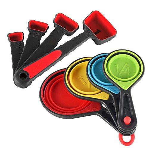 Measuring Cups and Spoons Set : U-Taste 8 Piece Silicone Collapsible Measuring Cups and Spoons Set for Dry and Liquid Ingredients (Red) by U-Taste