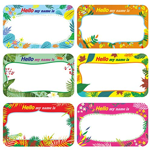300 Pcs Name Tag Label Sticker in 6 Designs with Perforated Line for School Office Home (3.5