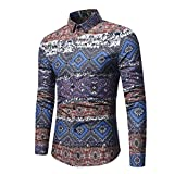Men's Retro Dress Shirt Ethnic Print Vintga Long Sleeve Button Down Shirts Zulmaliu (XL, Navy)