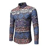 Men's Retro Dress Shirt Ethnic Print Vintga Long Sleeve Button Down Shirts Zulmaliu (XL, Navy)