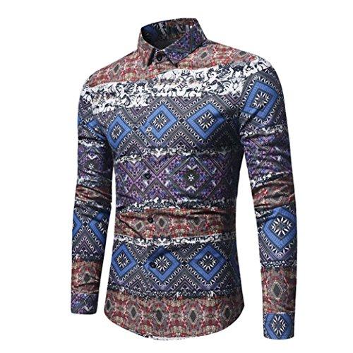 Men's Retro Dress Shirt Ethnic Print Vintga Long Sleeve Button Down Shirts Zulmaliu (XL, Navy) by Zulmaliu-Shirts 2018