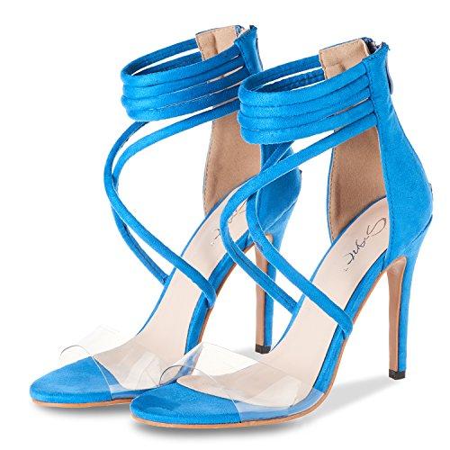 JSUN7 Women's Lucite Clear Open Toe Cross Straps Sandals Office Dress Shoes Back Zipper Strappy Heels Blue
