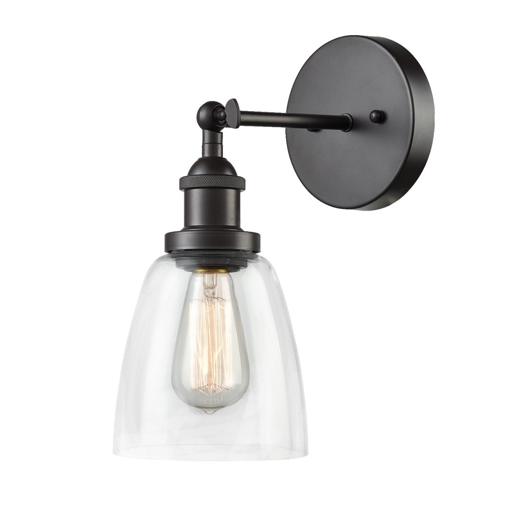CLAXY Ecopower Industrial Antique Simplicity Glass Wall Sconce Oil Rubbed Bronze Light Wall