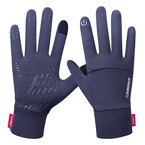 anqier Running Gloves,Lightweight Touchscreen Cycling Windproof Gloves Women Men Climbing Driving Sports Compression Liner Gloves for Winter Early Spring Or Fall ()