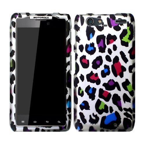 Leopard Cheetah Rainbow Pink Blue Silver Hard Case Cover For Motorola Droid Razr Maxx 912M 913 916 Razor Max with Free Pouch