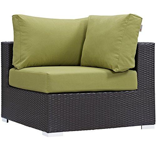 Modway Convene Wicker Rattan Outdoor Patio Sectional Sofa Corner Seat in Espresso Peridot