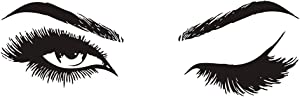 Eyes Wall Decal Fashion Eyelash Wall Sticker Women Beauty Quote Sticker for Bedroom Decoration WS75 (Black)