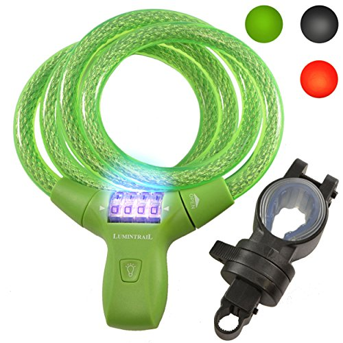 (Lumintrail LK21051 Bike Bicycle Combination Cable Lock with LED Illumination & Mounting Bracket, Military Grade Braided Steel & Components. Comes with Our (Green))