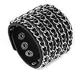 HZMAN Punk Rock Biker Link Chain Black Leather Bracelet Cuff Wristband Gothic