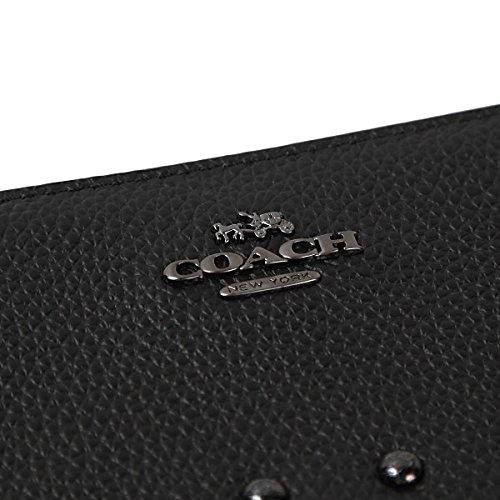 COACH Women's Rivets Slim Accordian Zip QB/Black Checkbook Wallet by Coach