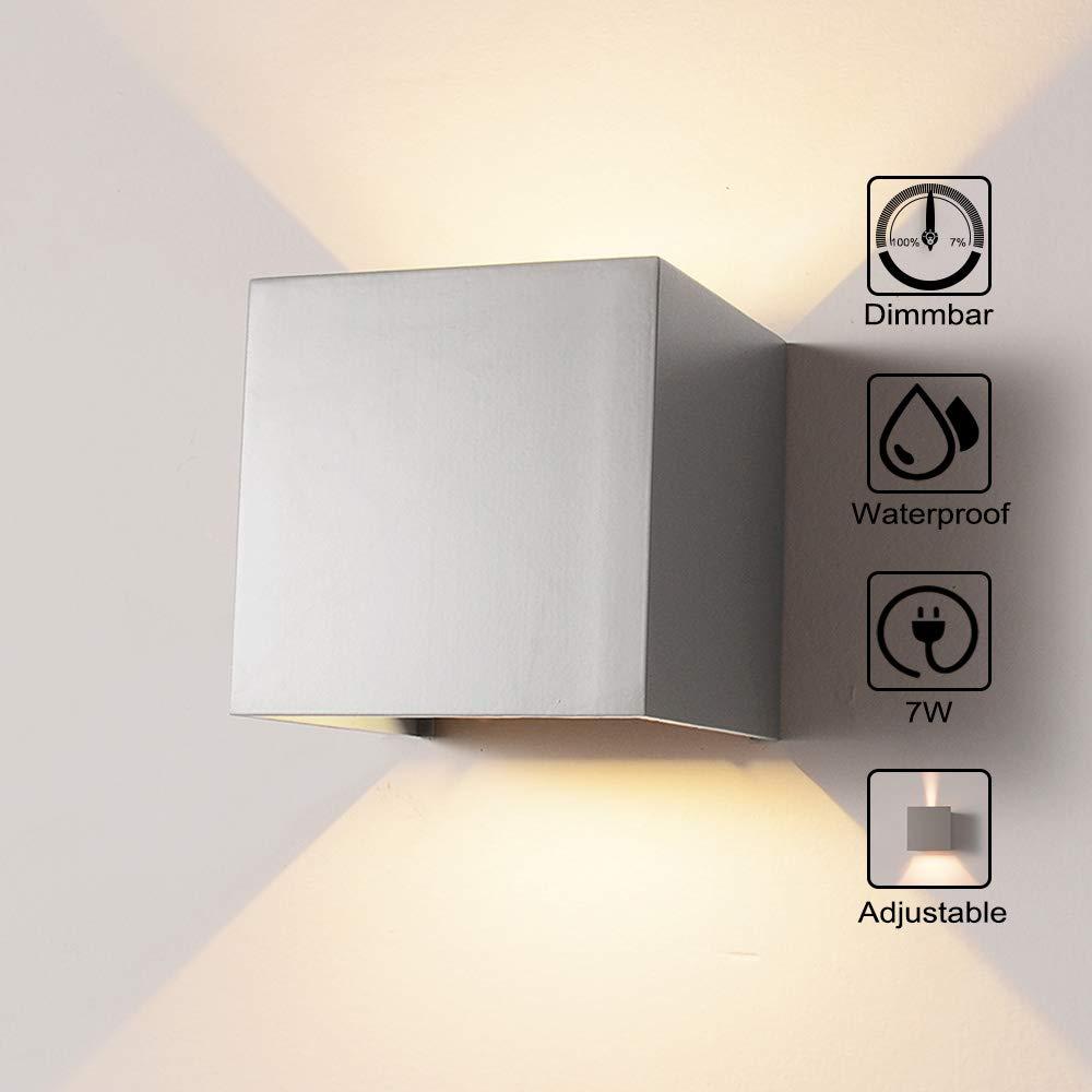 Wandleuchte Sensor f/ür Garten//Flur//Weg Veranda Hell-Eckig 12W Warmes Licht Wasserdicht Verstellbare Aussenlampe Wandleuchte Bewegungsmelder Aussen//Bewegungsmelder Innen LED Wandlampe Grau