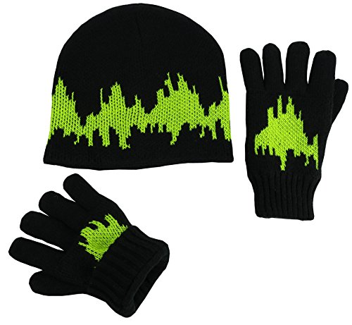 N'Ice Caps Big Boys Youth Sherpa Lined Fleece Flap Headwear and Gloves Snow Set (8-12 Years, 2 Ply Knit/Neon Yellow Glows in the ()