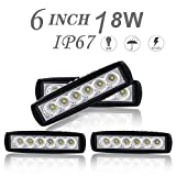 DOT Approved 4Pcs 6Inch 18W Flood LED Light Bar Offroad Pods Lights 4wd LED Driving Lamp Work Light Bulb Fog Lights Backup Reverse Lights for Truck Pickup Jeep SUV ATV UTV Tractor Boat Waterproof IP67 12V/24V