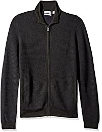 Men's Full Zip Merino Plaited Sweater